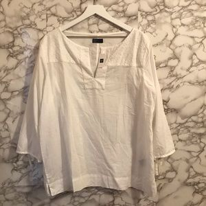White Gap Cotton Embroidered 3/4 Sleeve Top
